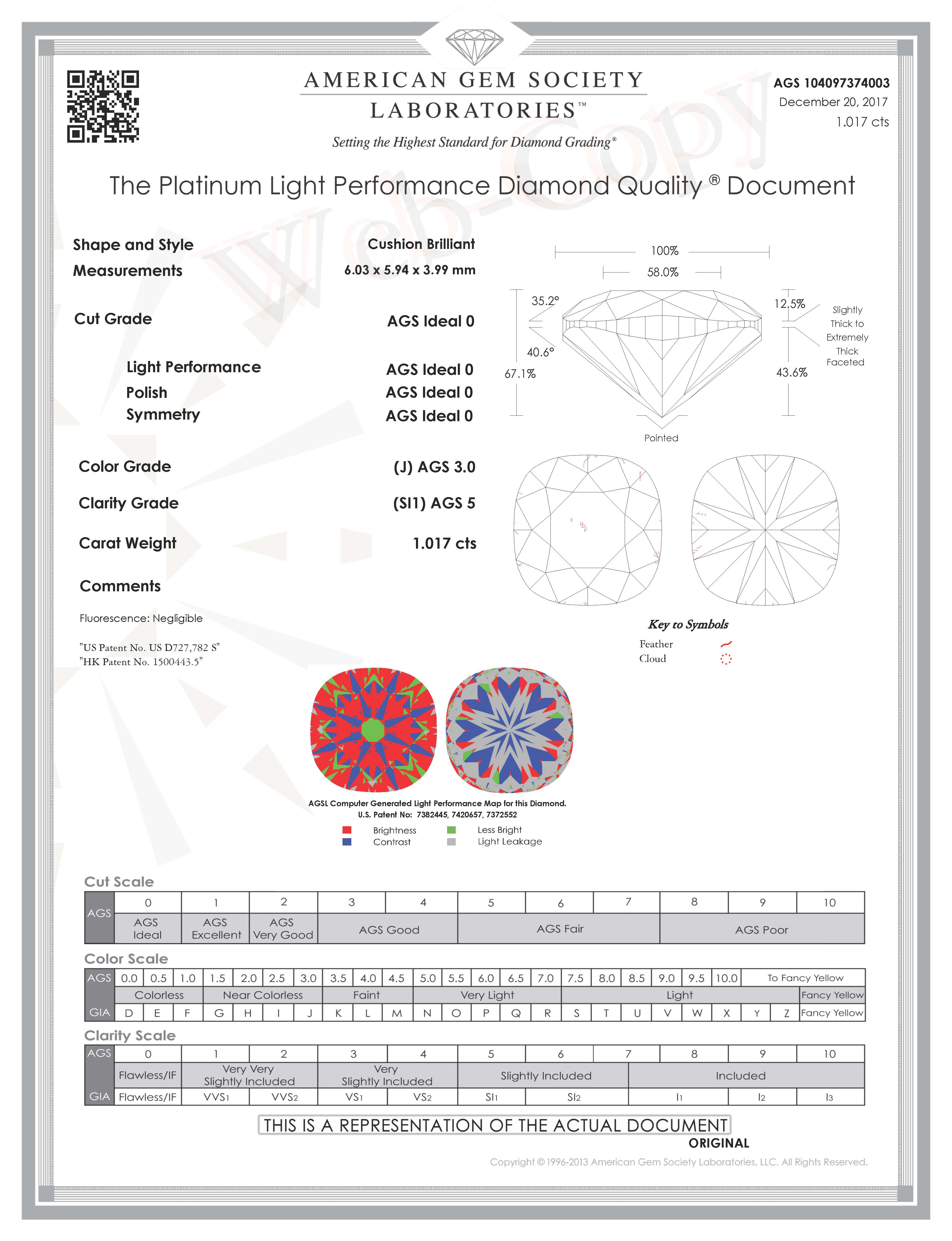 AGSL Cushion Diamond Cert Click to Enlarge
